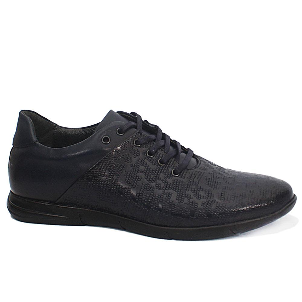 Andrea Navy Embossed Leather Sneakers
