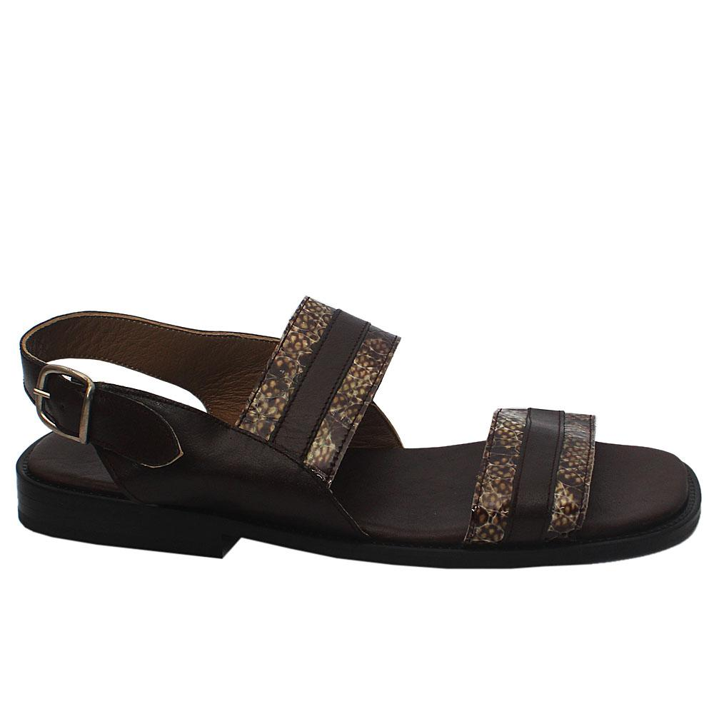 Dario TRD Brown Snake Skin Leather Men Sandals