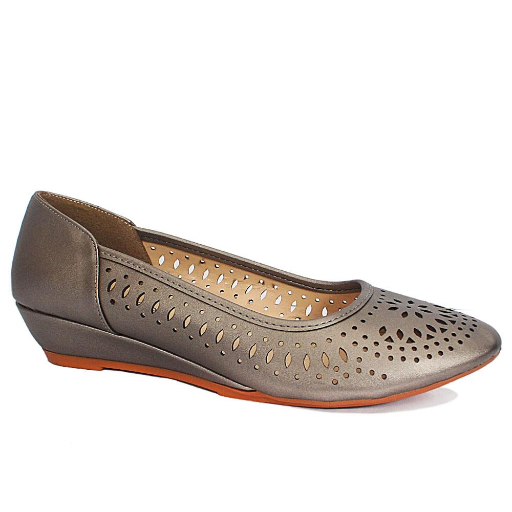 Sz 40 Claudia Gray Perforated Leather Small Wedge Ladies Shoes