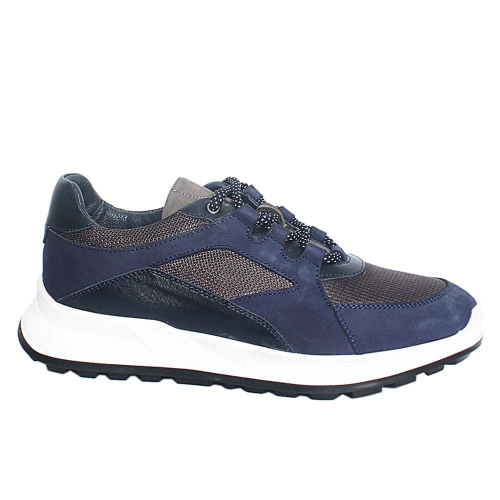 Navy Blue Mix Fabric Breathable Leather Sneakers