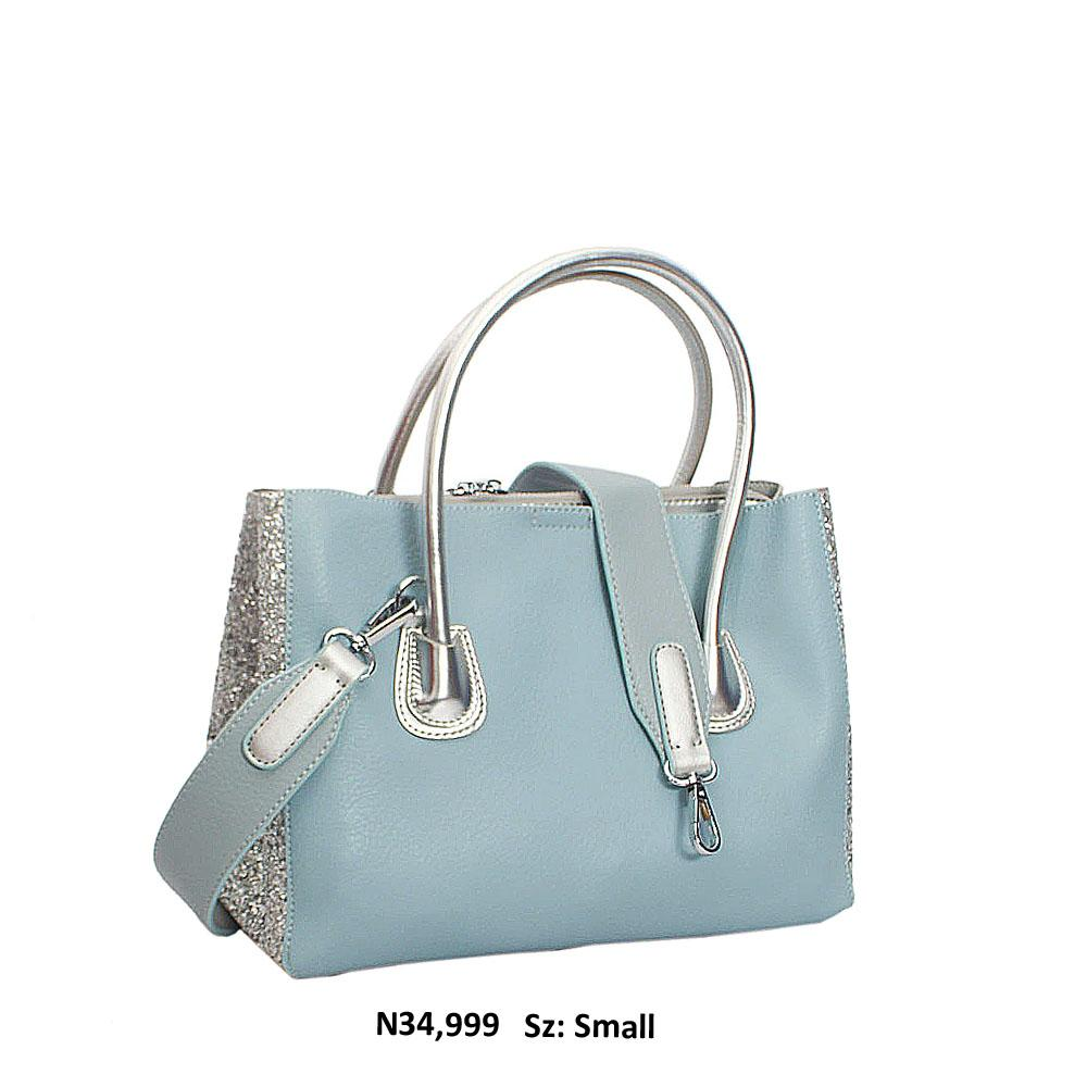 Sky Blue wt Metallic Silver Buffy Leather Tote Handbag