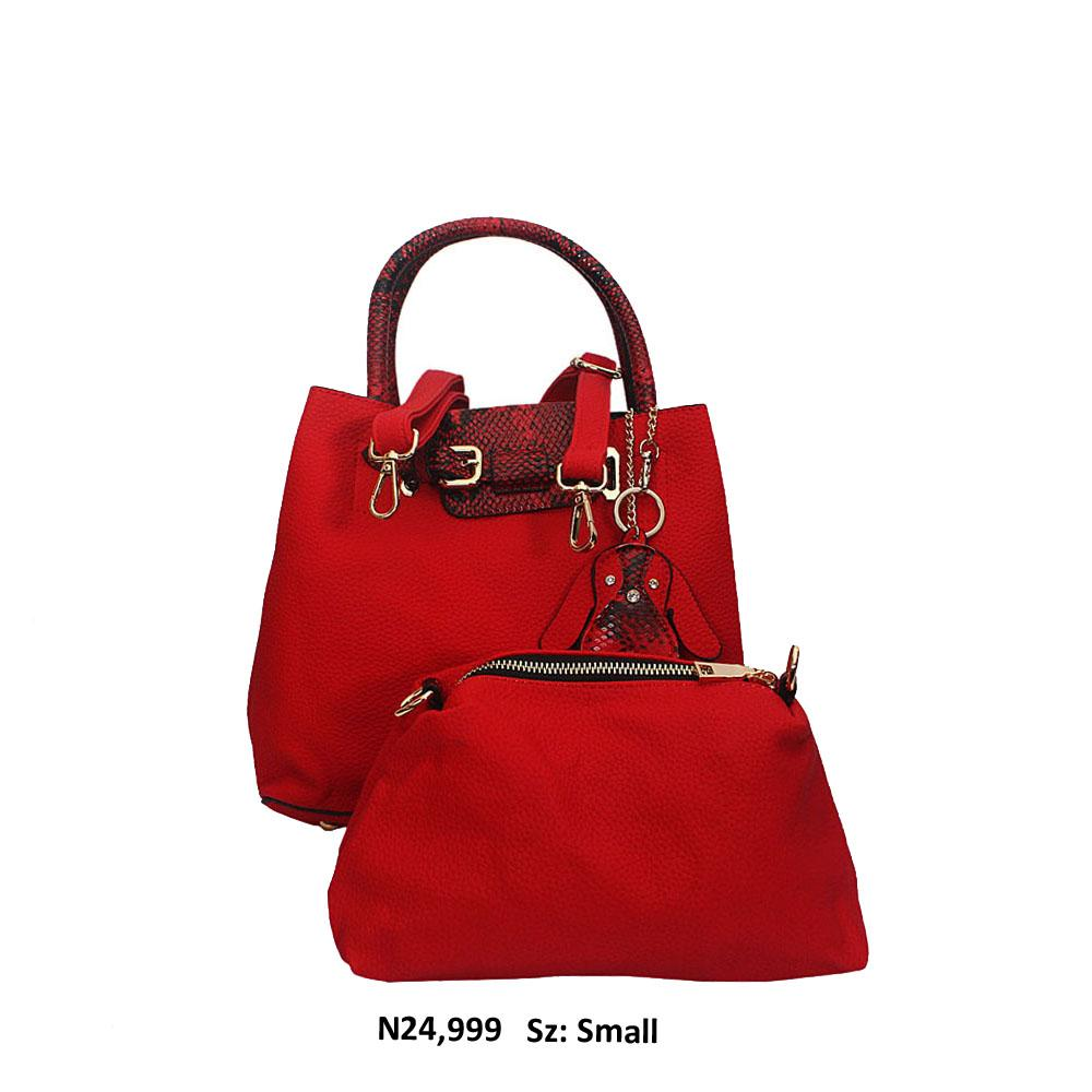 Small Red Black Snake Skin Style Leather Tote Handbag
