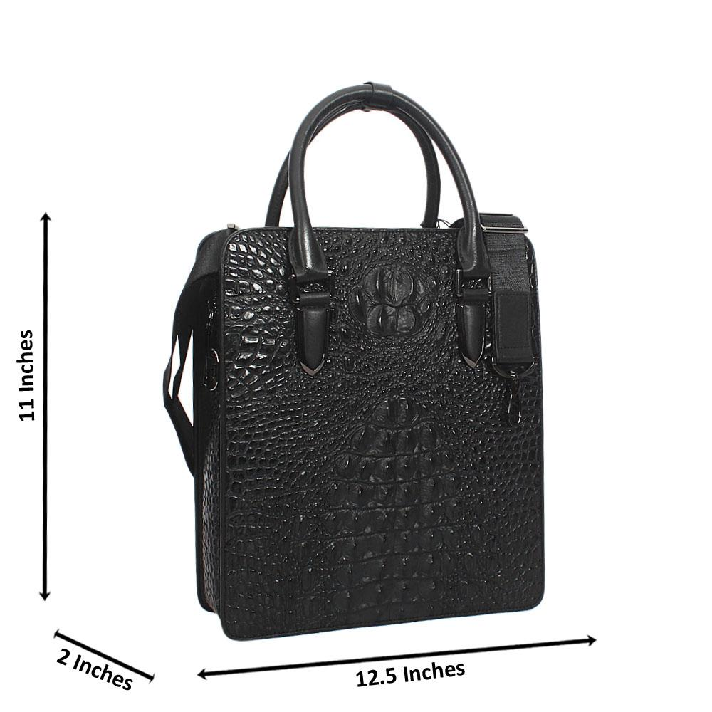 Black Croc Leather Tote Man Bag Wt Combination Lock