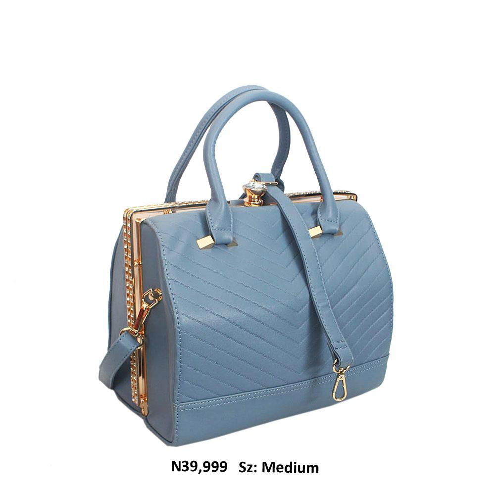 Sky Blue Crystal Studded Leather Tote Handbag