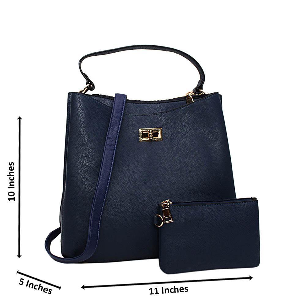 Navy Hazel Leather Medium Top Handle Handbag