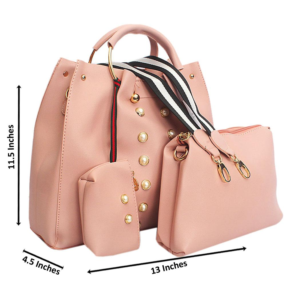 Pink Pearl Leather Metal Handle Tote Handbag