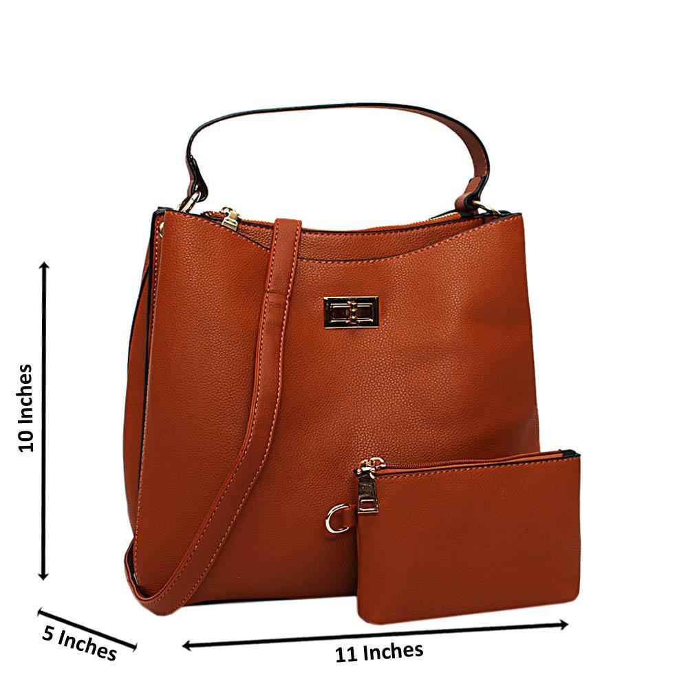 Brown Hazel Leather Medium Top Handle Handbag
