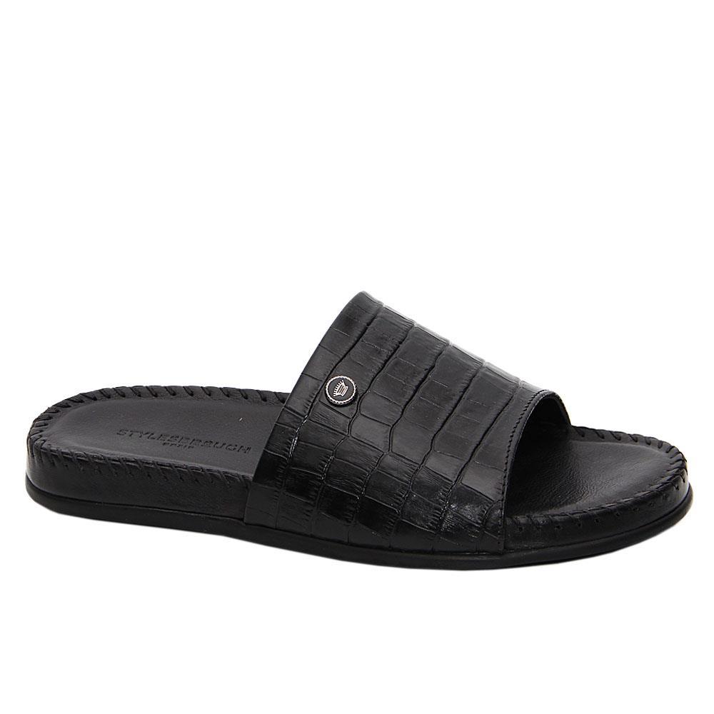 Black Terzo Italian Leather Comfort Sole Slippers