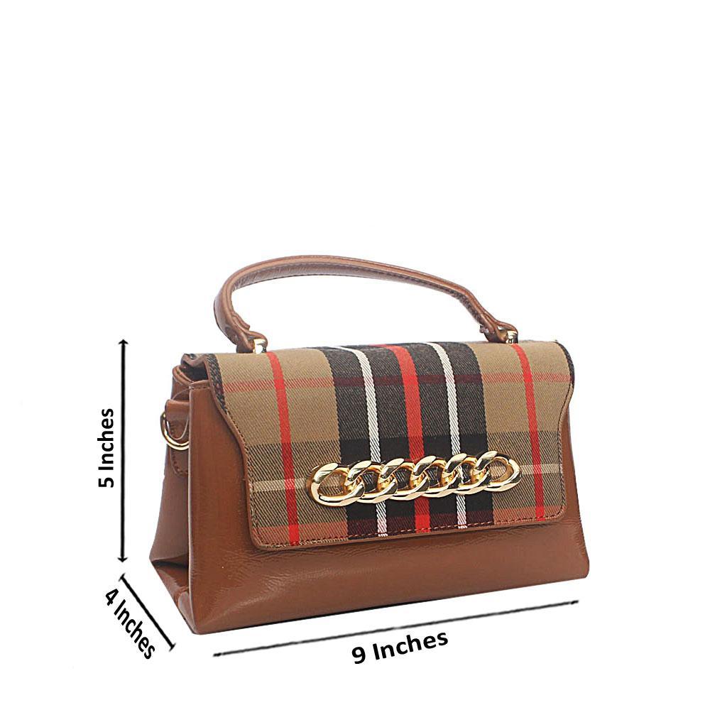Brown Fabric Tandy Leather Mini Single Handle Bag