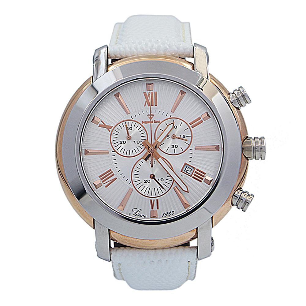 White Silver Leather Chronograph Watch