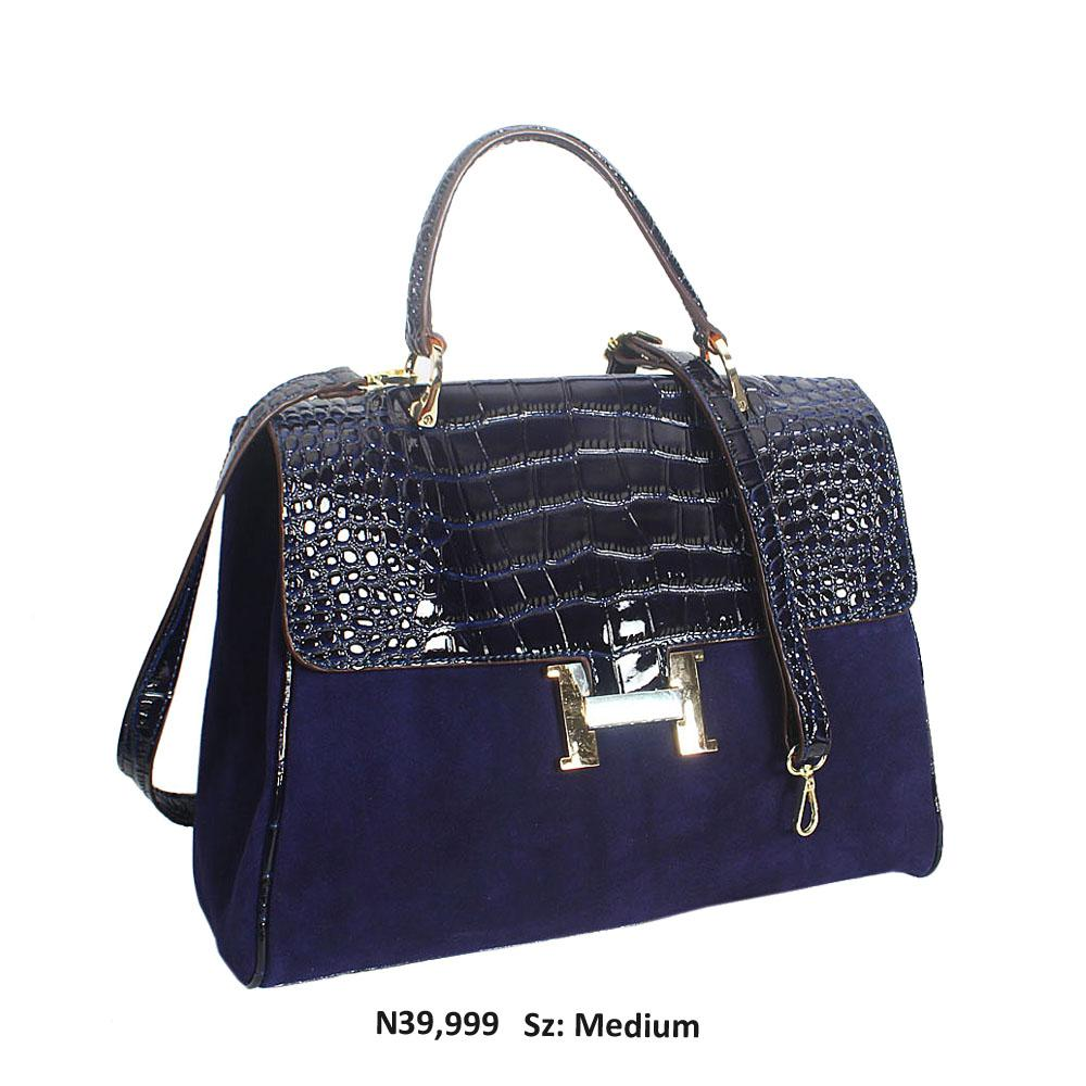 Navy Croc Suede Leather Top Handle Handbag