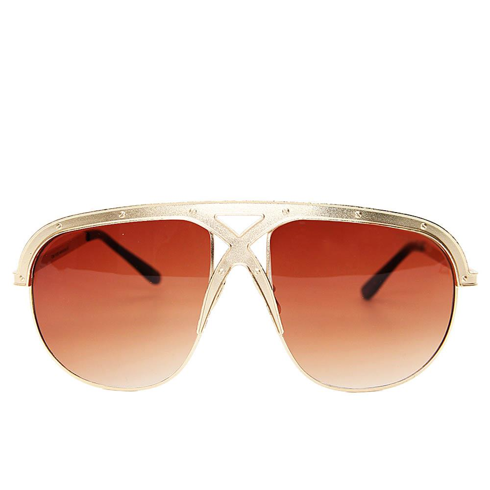 Gold Brown Avaitor Sunglasses