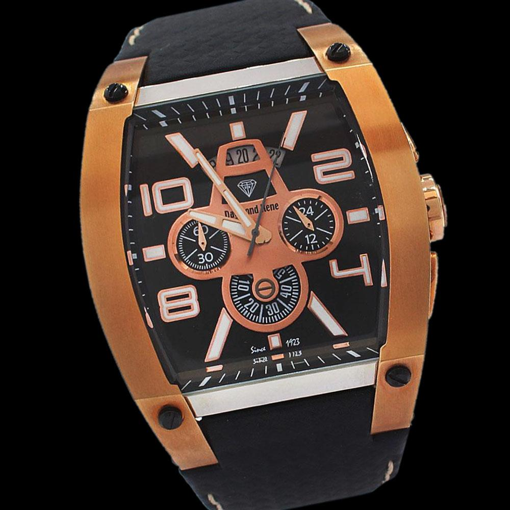 DR-10ATM-Gold-Black-Leather-VIP-Chronograph-Watch
