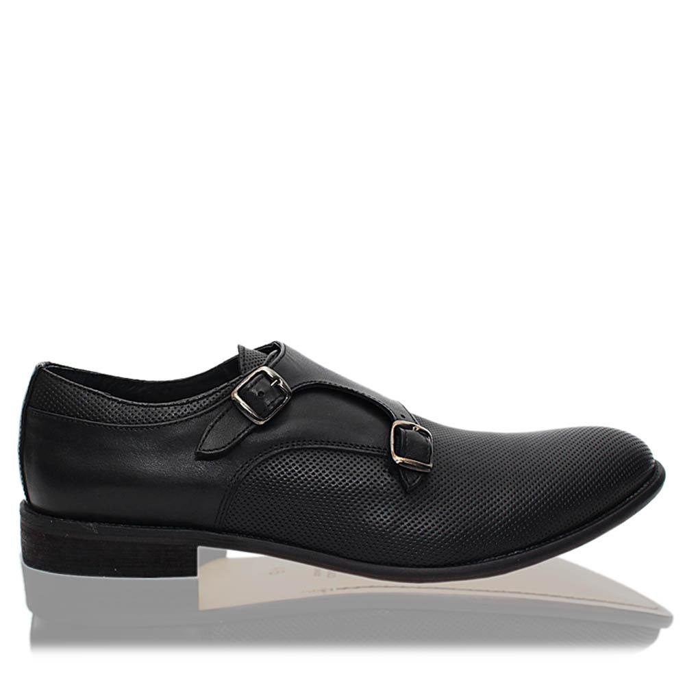 Black Celso Italia Leather Men Monk Strap Shoes