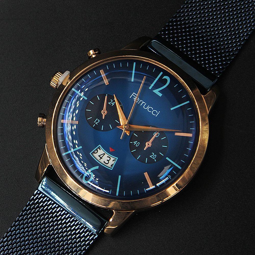 Ferrucci Adella Gold  Blue Mesh Watch