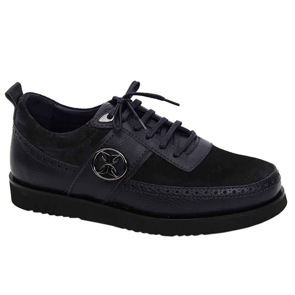 Navy Nathan Suede Italian Leather Sneakers