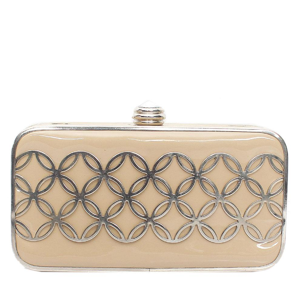 Silver Khaki Leather Hard Clutch Purse