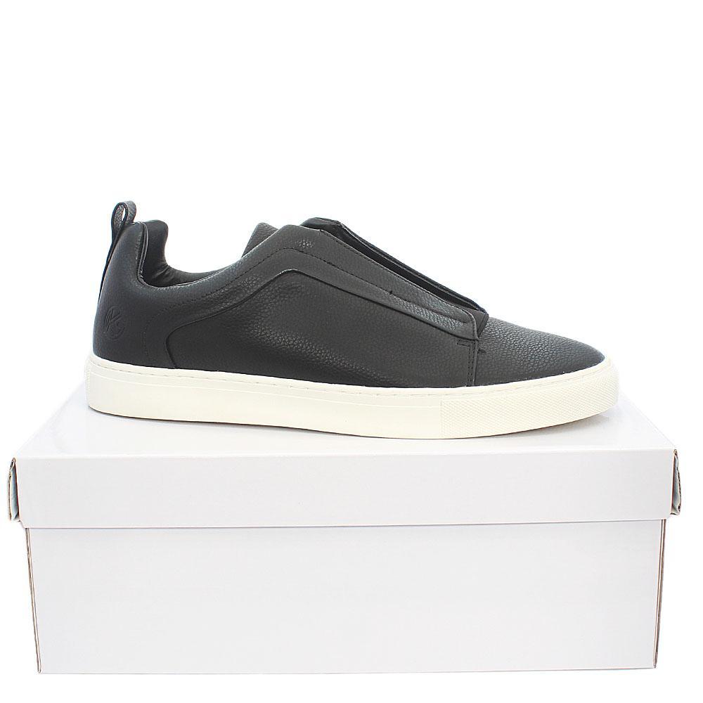 Black Leather Men Sneakers
