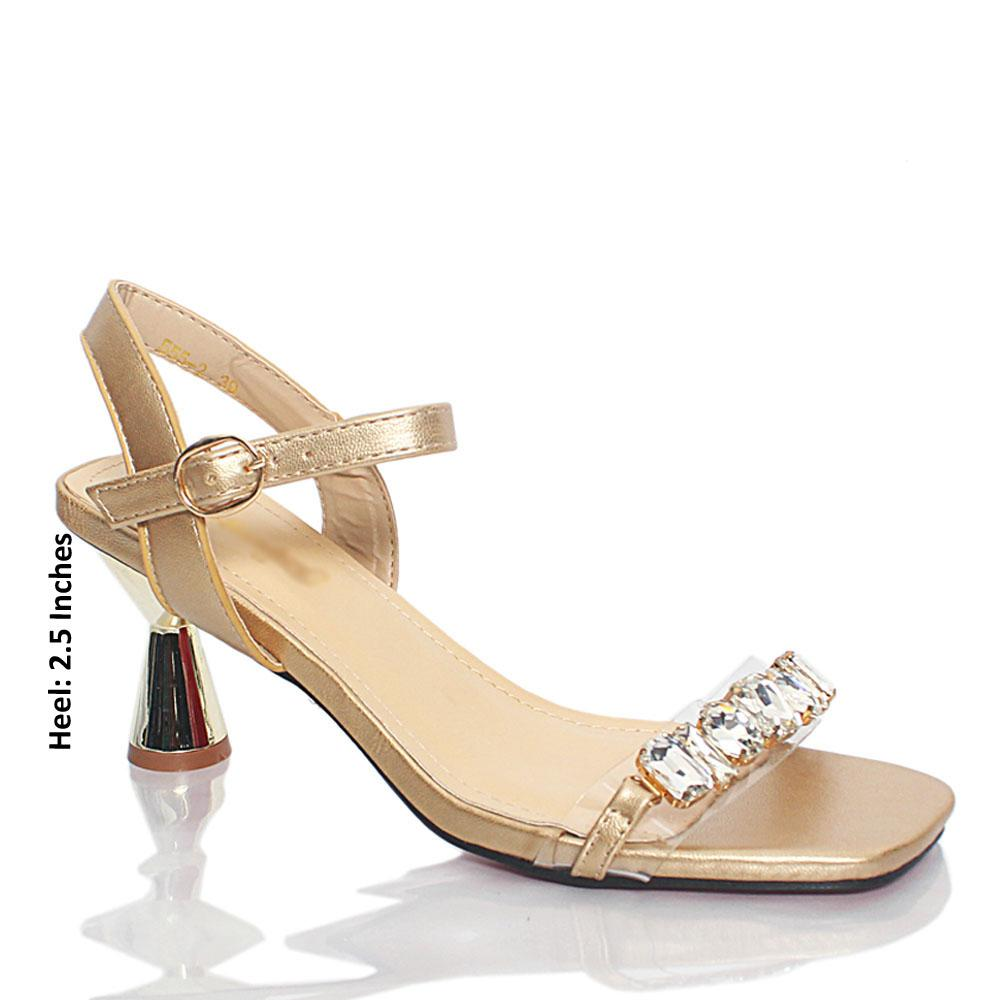 Gold Katty Crystals Studded Rubber Suede Leather Heel Sandals