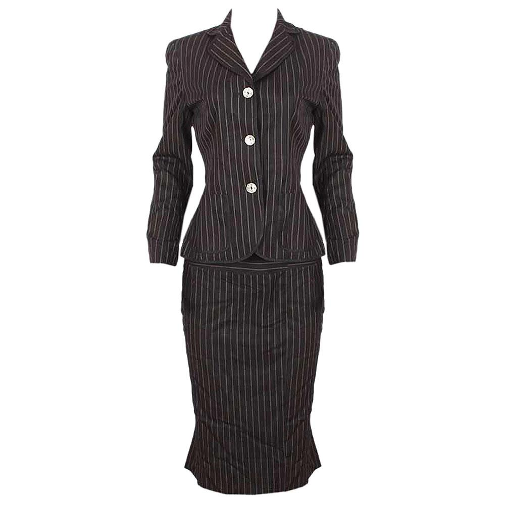 AK Anne Klein Black Stripe Ladies Skirt Suit Sz M