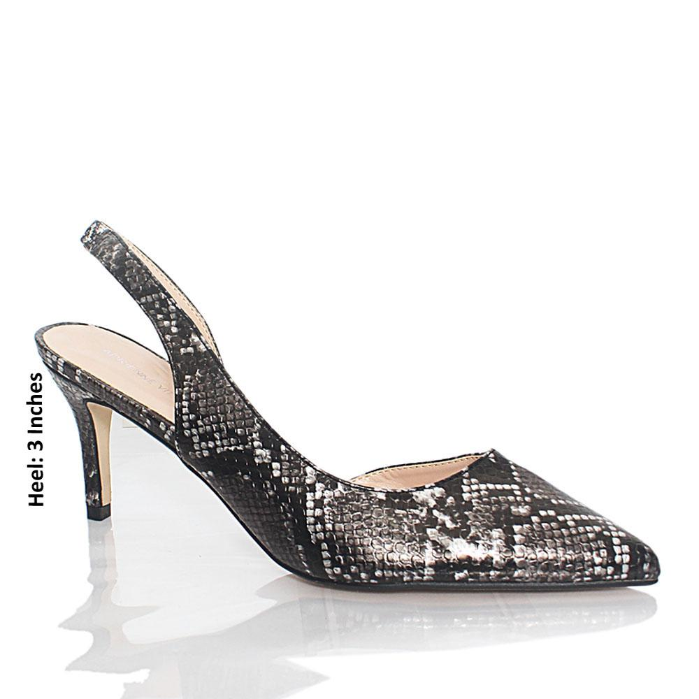 Gray Black Snake Skin Styled Leather Heel