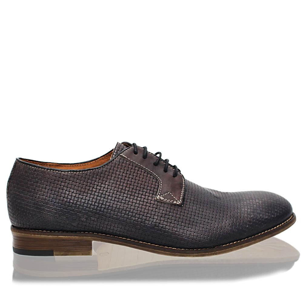 Dark Gray Leandro Italia Leather Men Derby Shoes