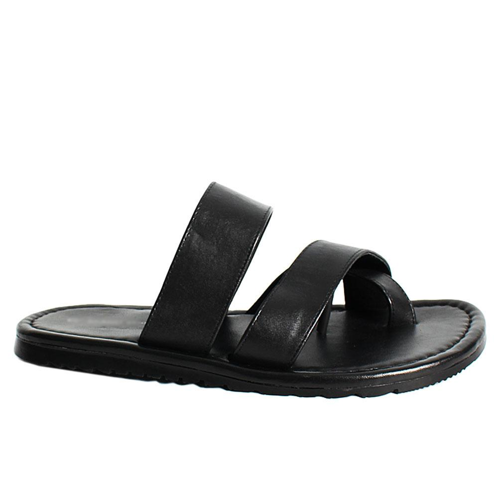 K Geiger Black Picasso Leather Men Slippers