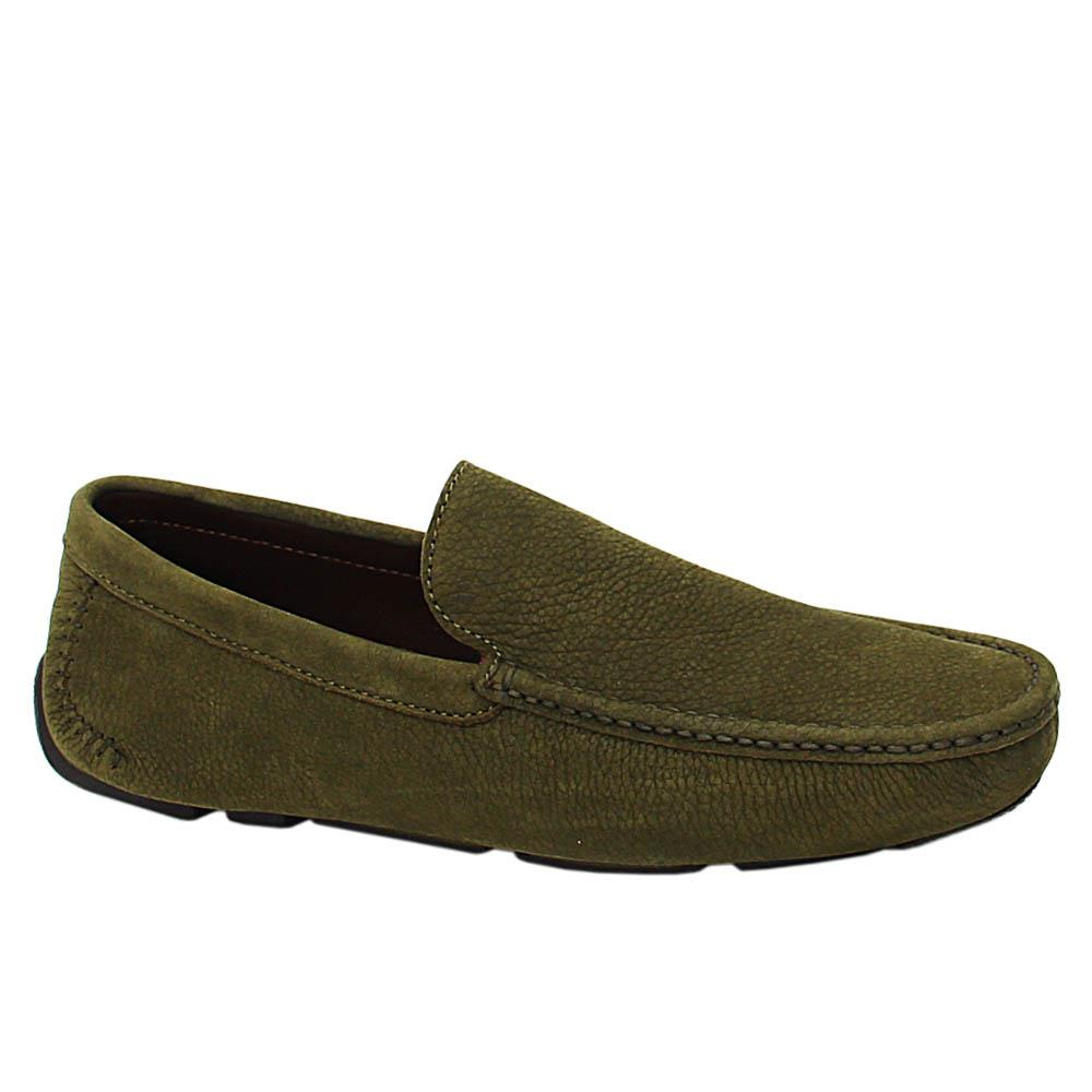 Army Green Afonso Nubuck Italian Leather Drivers Shoe