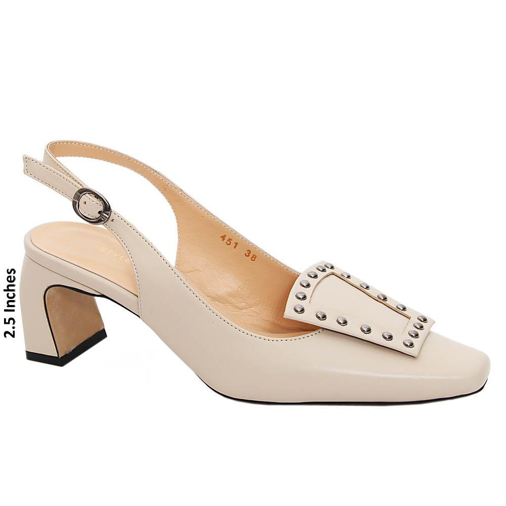 Cream Emilia Tuscany Leather High Heel Slingback Pumps