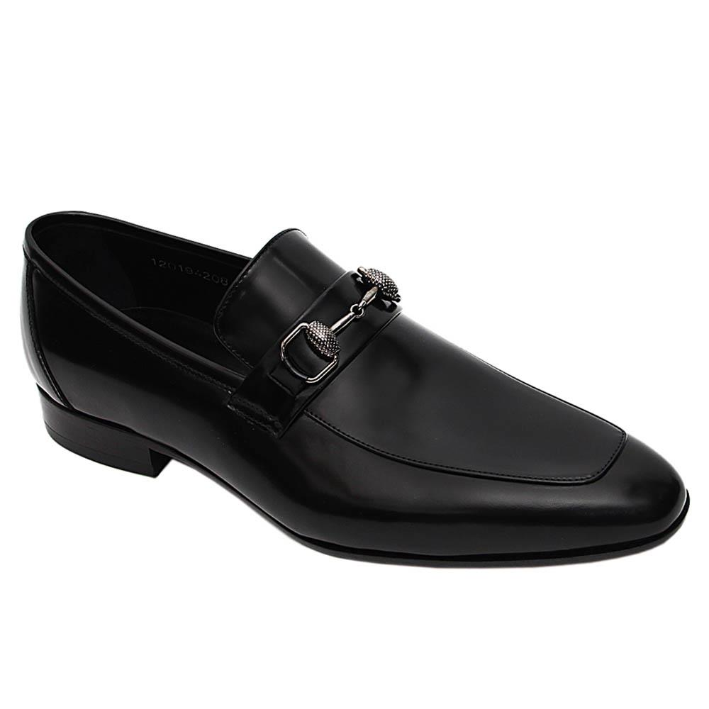 Black Alberto Italian Leather Loafers