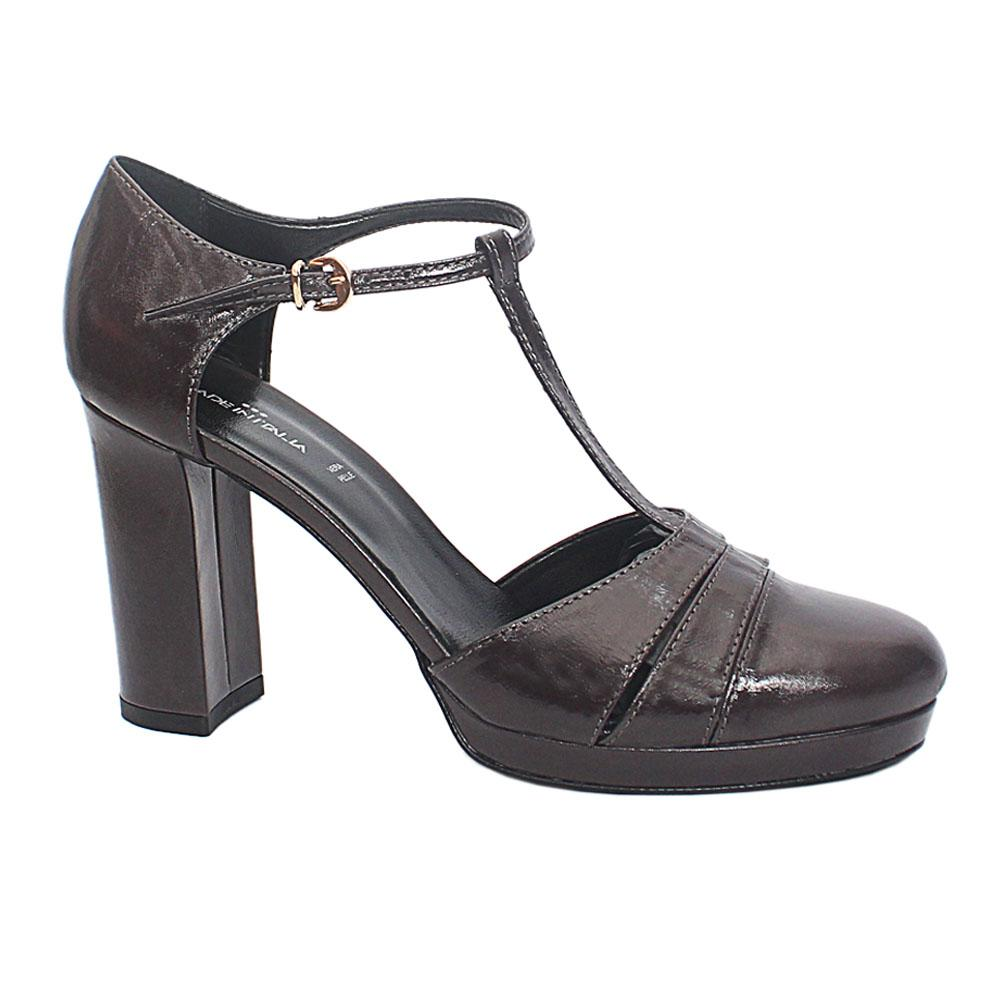 Italia Coffee Vanessa Leather Block Heel Shoe