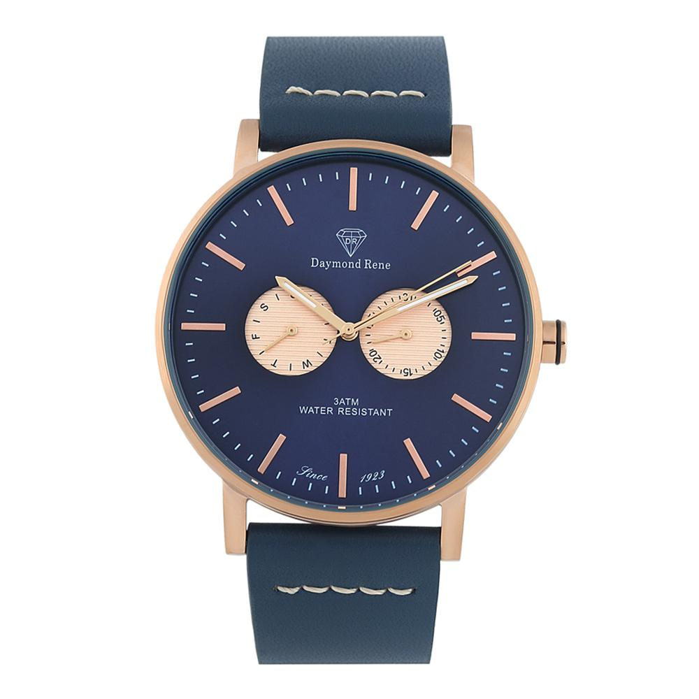 DR 3ATM Prussian Blue Rose Gold Leather Coin Watch