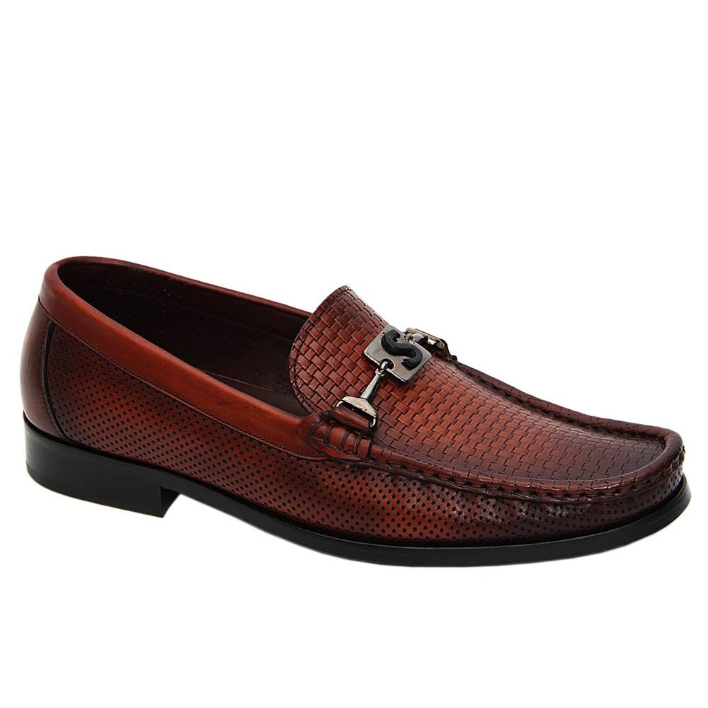 Brown Paredes Italian Leather Breathable Penny Loafers