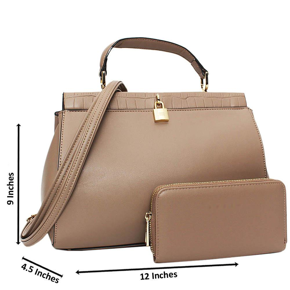 Khaki Blair Leather Medium Top Handle Handbag