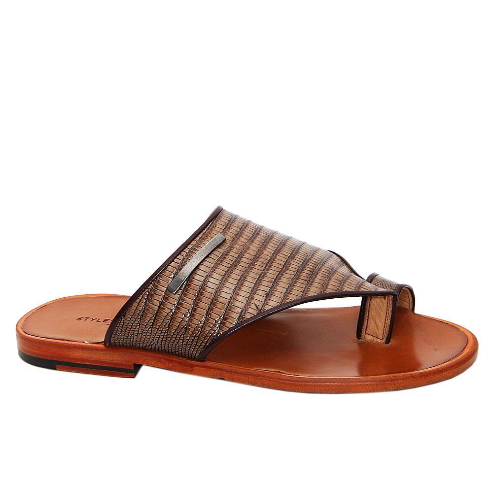 Brown Camilo Italian Leather Toe Loop Slippers