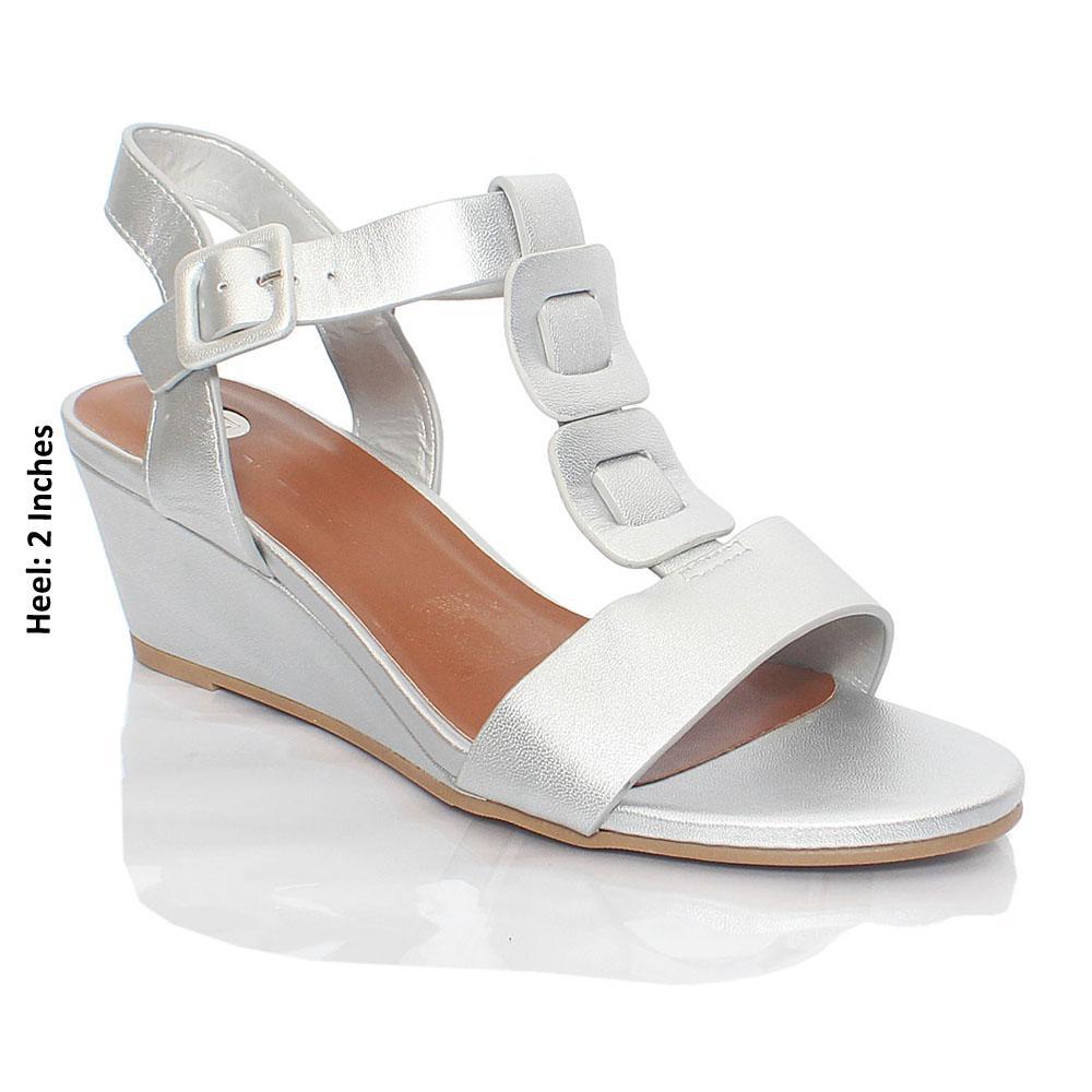 Silver Ellena Paris Smooth Leather Wedge