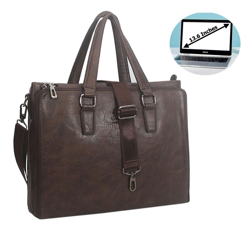 Coffee Miguel Leather Triple Zipper Briefcase
