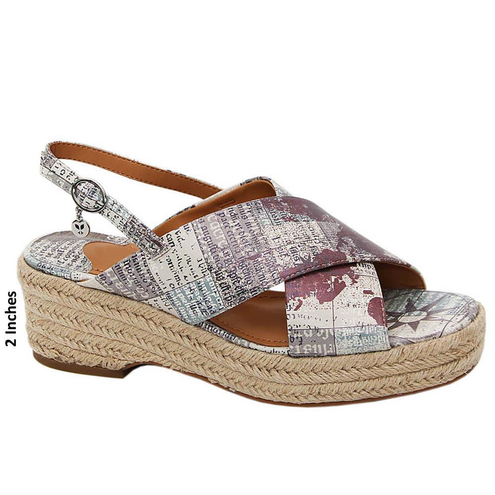 Gray Cora Graphic Print Leather Wedge Sandals