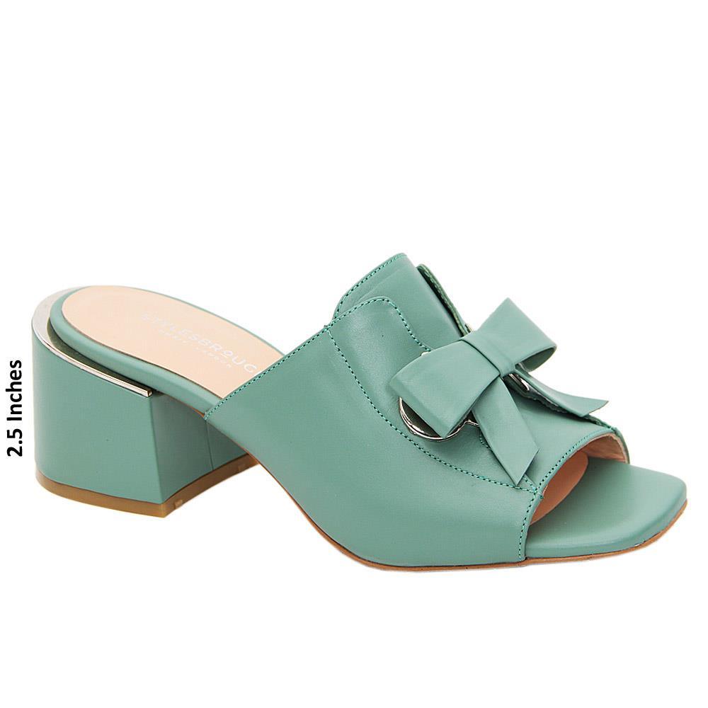 Teal Green Nevaeh Tuscany Leather Mid Heel Mule