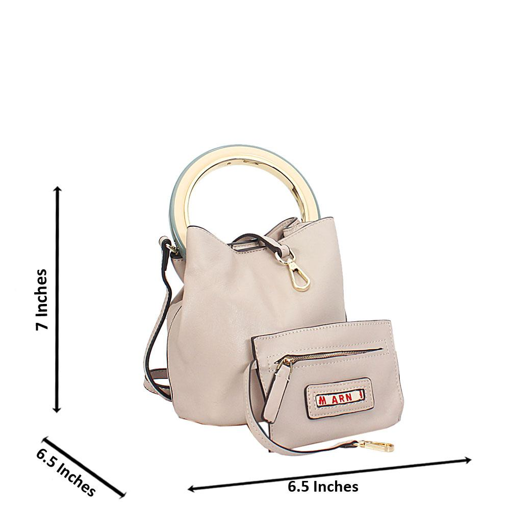 Beige Marni Montana Leather Mini Top Handle Handbag
