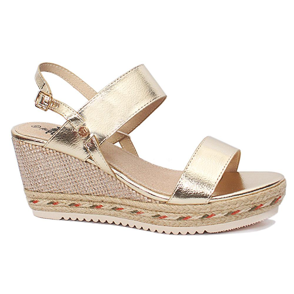 Xti Gold Alexa Leather Ladies Wedge Sandals