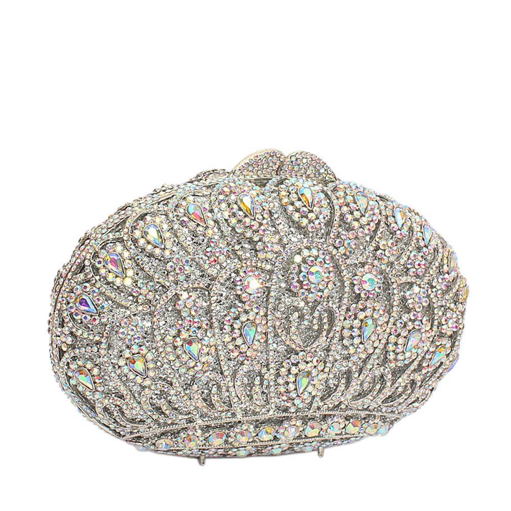 Silver Crown Diamante Crystals Clutch Purse