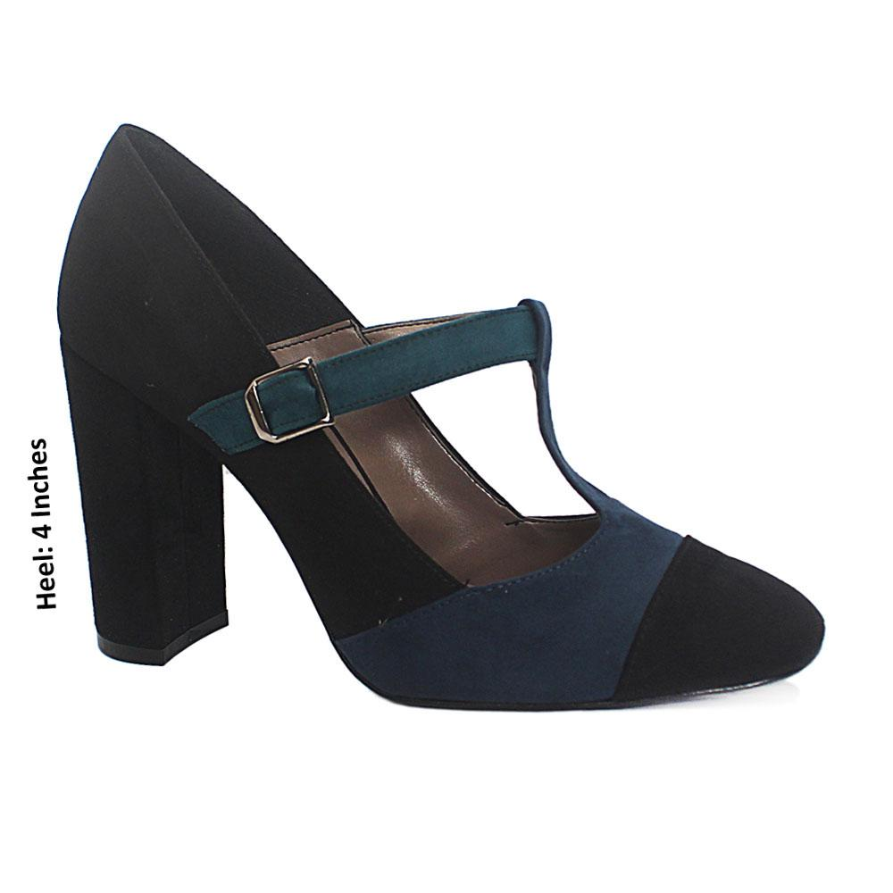 Black Navy Mix Kayla Suede Leather Block Heel
