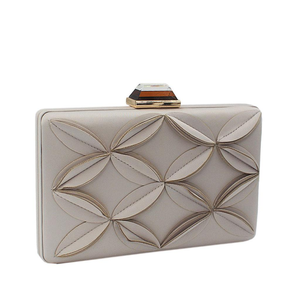 Grey Satin Flower Patterned Clutch Purse