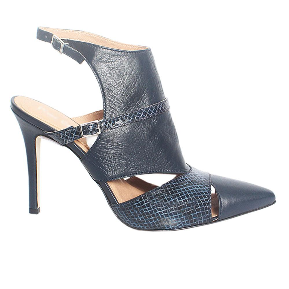 Navy Bidgette Snake Style Leather Ankle Heels