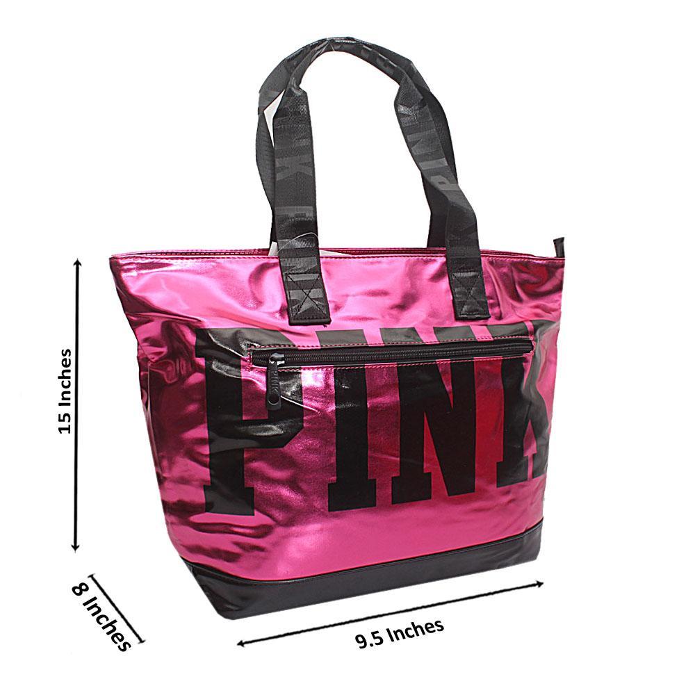 VPink Black Patent Leather Duffle Shoulder Handbag