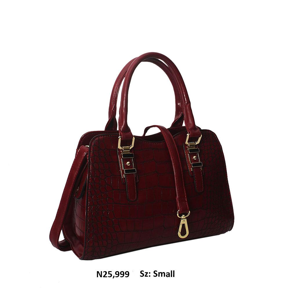 Burgundy Claudia Croc Style Leather Tote Handbag