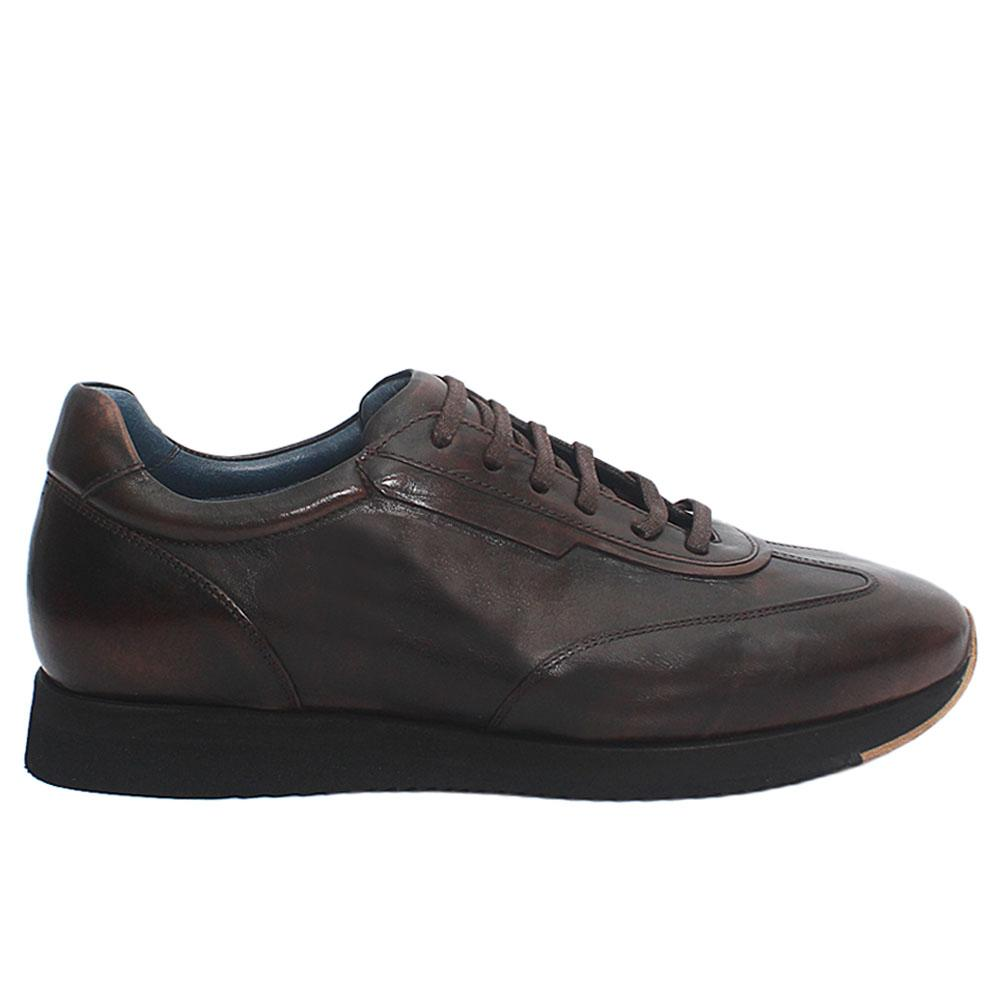 Coffee Taso Italian Leather Sneakers