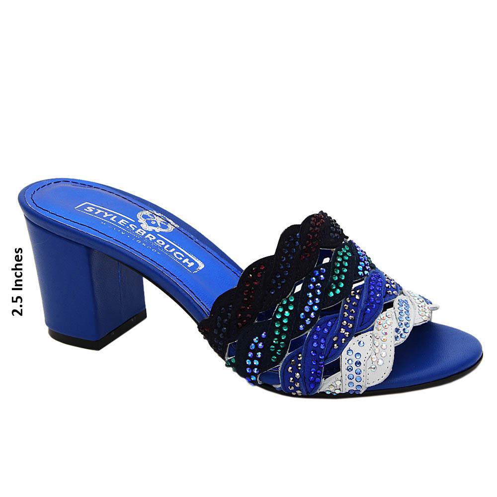 Blue Mix Camilla Studded Italian Leather Mid Heel Mule