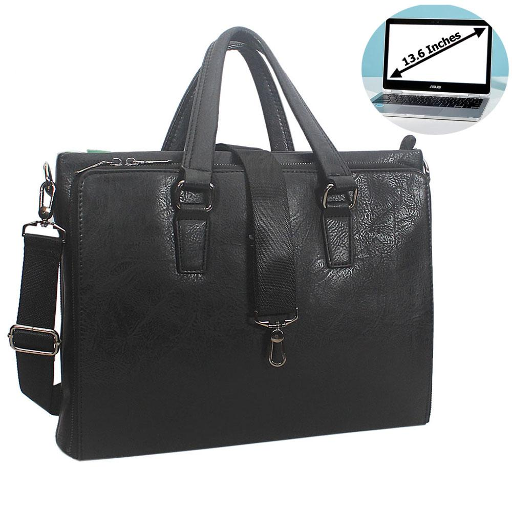 Black Miguel Leather Triple Zipper Briefcase